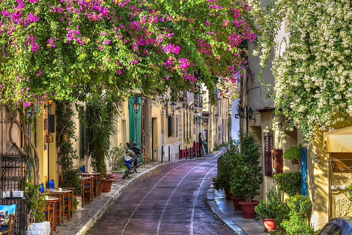 Traditional street in the old Plaka neighborhood, Athens
