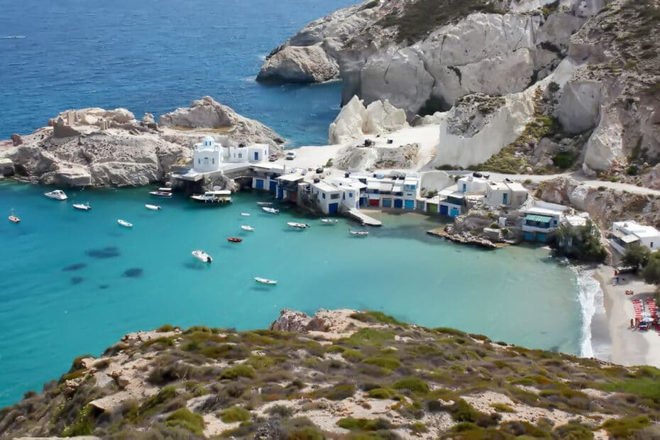 Traditional fishing village in Milos, Greece